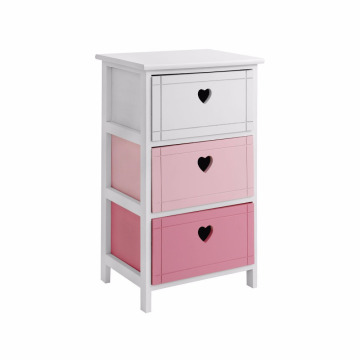 3 Drawer Chest Paulownia Wood Frame MDF Drawers White Frame Home Office
